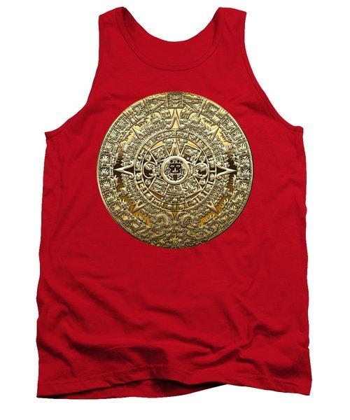 Golden Mayan-aztec Calendar On Red Tank Top