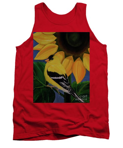 Goldfinch And Sunflower Tank Top by Jane Axman