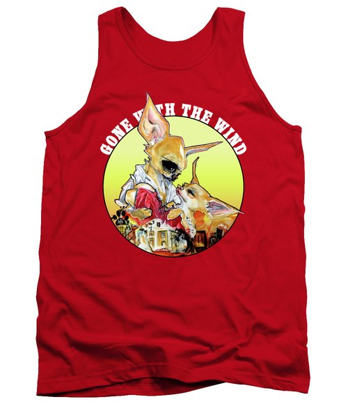 Gone With The Wind Chihuahuas Caricature Art Print Tank Top