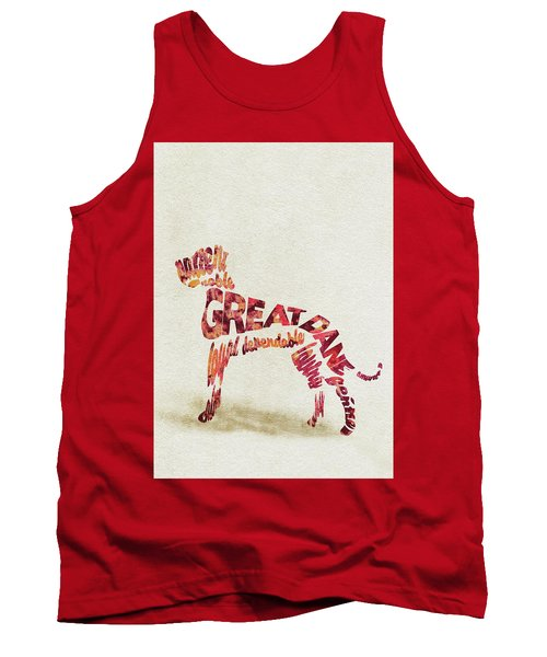 Tank Top featuring the painting Great Dane Watercolor Painting / Typographic Art by Ayse and Deniz