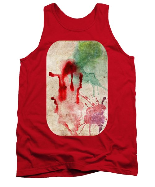 Green And Red Color Splash Tank Top
