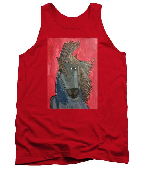 Tank Top featuring the painting Grey Horse by Artists With Autism Inc