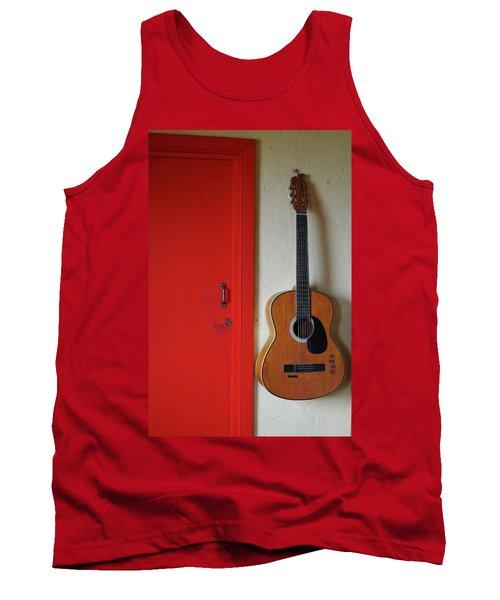Guitar And Red Door Tank Top