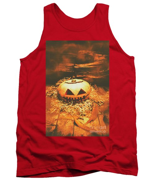 Halloween In Fall. Still Life Pumpkin Head Tank Top