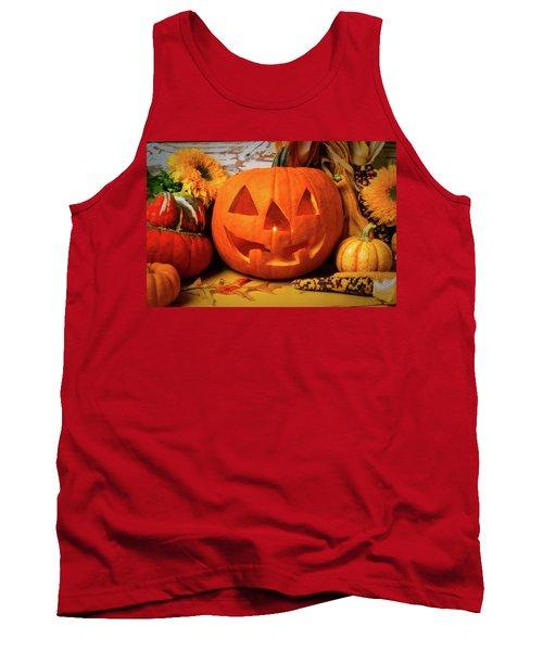 Halloween Pumpkin Smiling Tank Top
