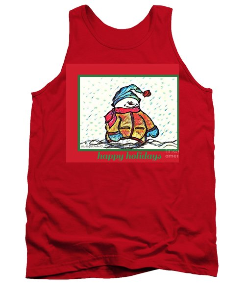 Happy Holidays Snowman Tank Top by MaryLee Parker