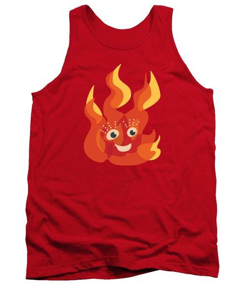 Happy Orange Burning Fire Character Tank Top