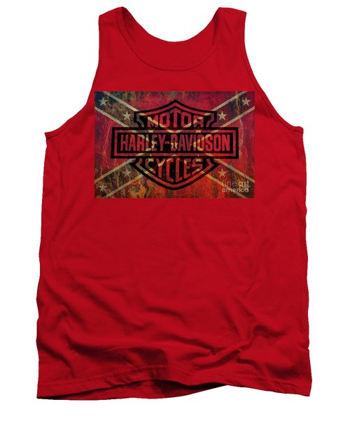 Harley Davidson Logo Confederate Flag Tank Top