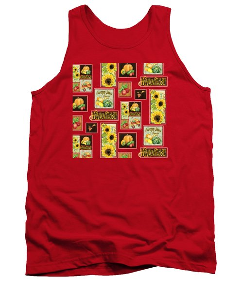 Tank Top featuring the painting Harvest Market Pumpkins Sunflowers N Red Wagon by Audrey Jeanne Roberts