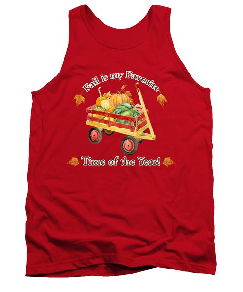 Tank Top featuring the painting Harvest Red Wagon Pumpkins N Leaves by Audrey Jeanne Roberts