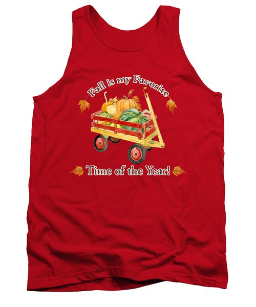 Harvest Red Wagon Pumpkins N Leaves Tank Top