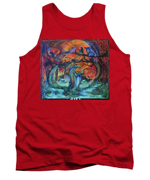 Tank Top featuring the painting Harvesters Of The Autumnal Swamp by Christophe Ennis