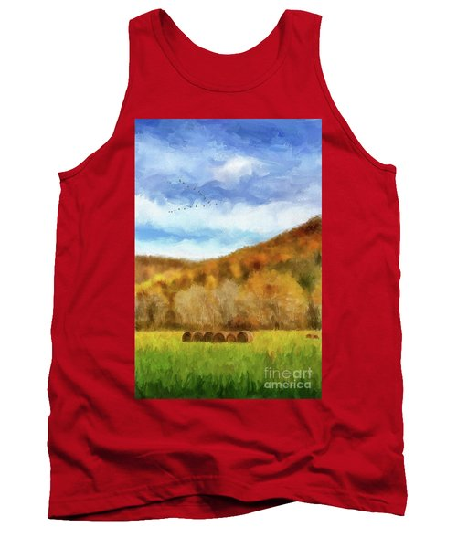 Tank Top featuring the photograph Hay Bales by Lois Bryan