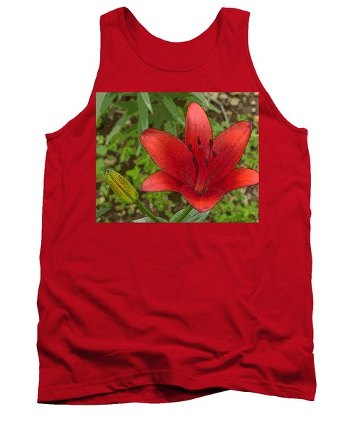 Tank Top featuring the digital art Hazelle's Red Lily by Jana Russon