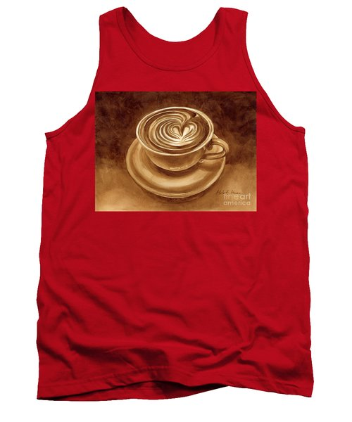 Tank Top featuring the painting Heart Latte by Hailey E Herrera