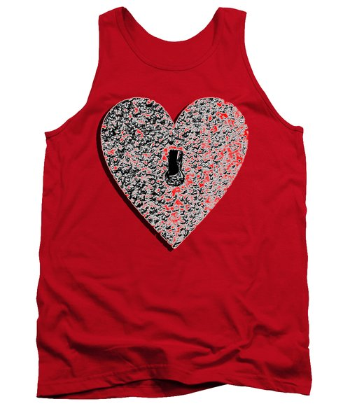 Tank Top featuring the photograph Heart Shaped Lock Red .png by Al Powell Photography USA