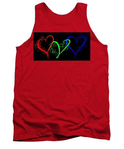 Hearts On Black Tank Top