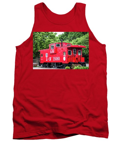 Tank Top featuring the photograph Helena Red Caboose by Parker Cunningham