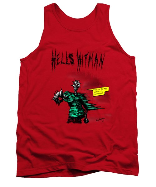 Tank Top featuring the drawing Hells Hitman by Kim Gauge