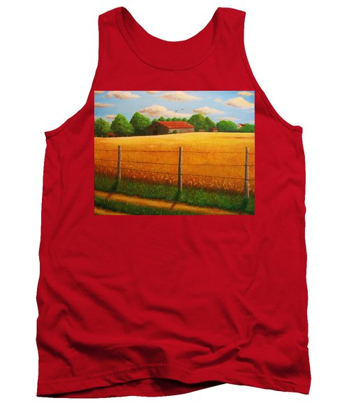 Tank Top featuring the painting Home On The Farm by Gene Gregory
