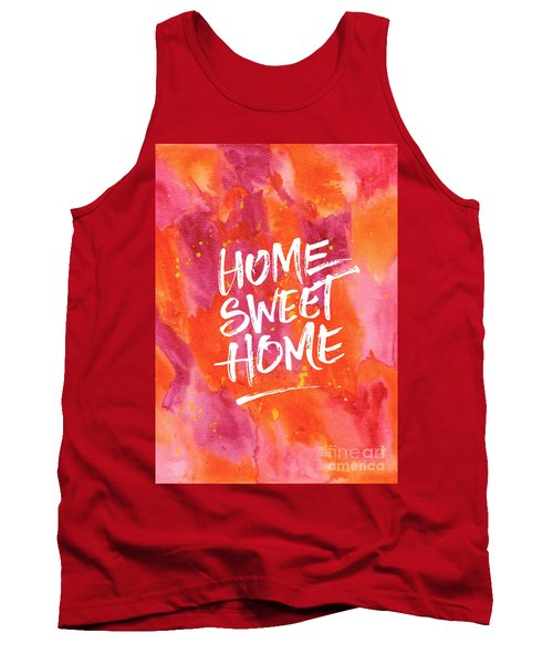 Home Sweet Home Handpainted Abstract Orange Pink Watercolor Tank Top