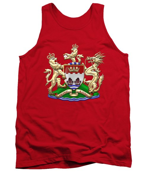 Hong Kong - 1959-1997 Coat Of Arms Over Red Leather  Tank Top by Serge Averbukh