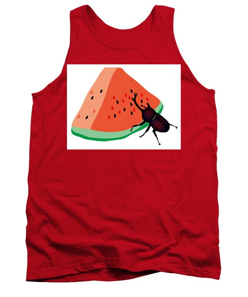 Horn Beetle Is Eating A Piece Of Red Watermelon Tank Top