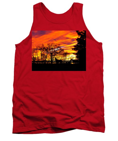 Horses And The Sky Tank Top by Donald C Morgan