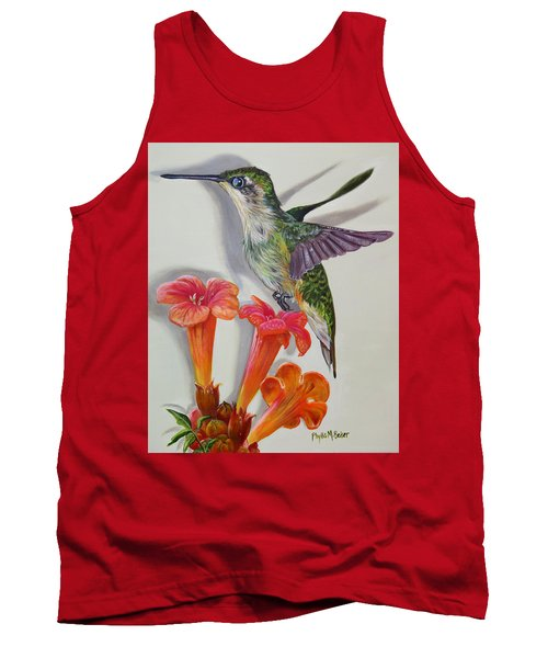 Hummingbird And A Trumpet Vine Tank Top by Phyllis Beiser