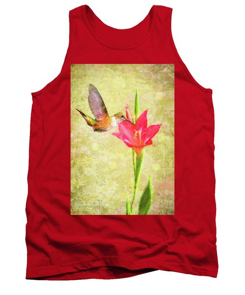 Tank Top featuring the digital art Hummingbird And Flower by Christina Lihani