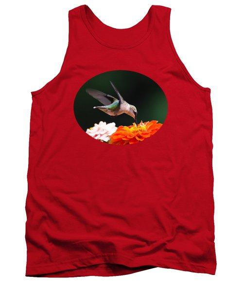 Hummingbird In Flight With Orange Zinnia Flower Tank Top
