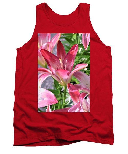 Exquisite Pink Lilies Tank Top