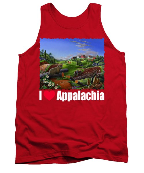 I Love Appalachia T Shirt - Spring Groundhog - Country Farm Landscape Tank Top