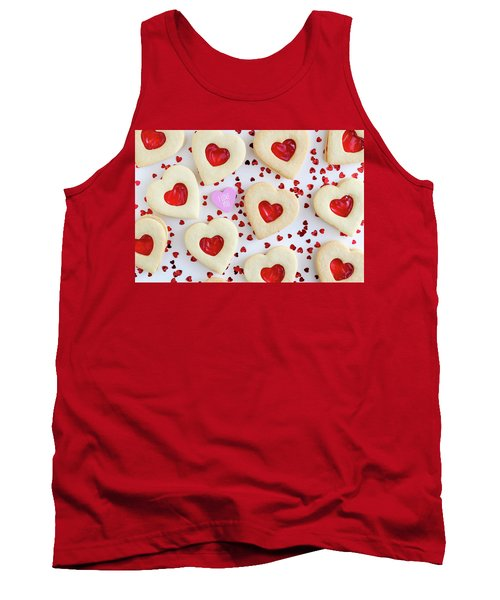 Tank Top featuring the photograph I Love You Heart Cookies by Teri Virbickis