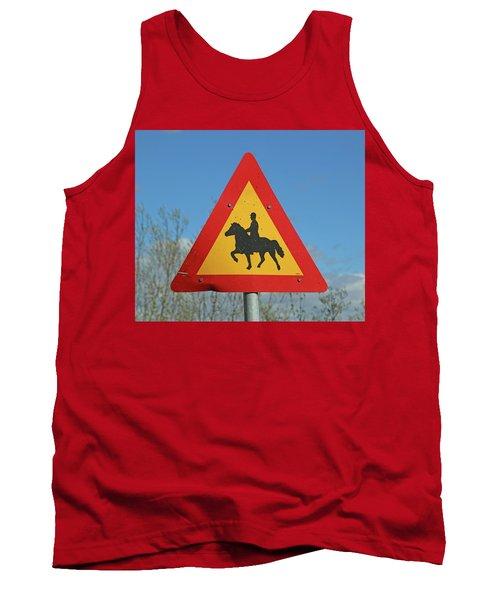 Icelandic Horse Crossing Sign Tank Top