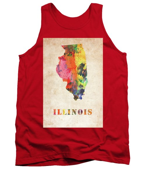 Illinois Colorful Watercolor Map Tank Top