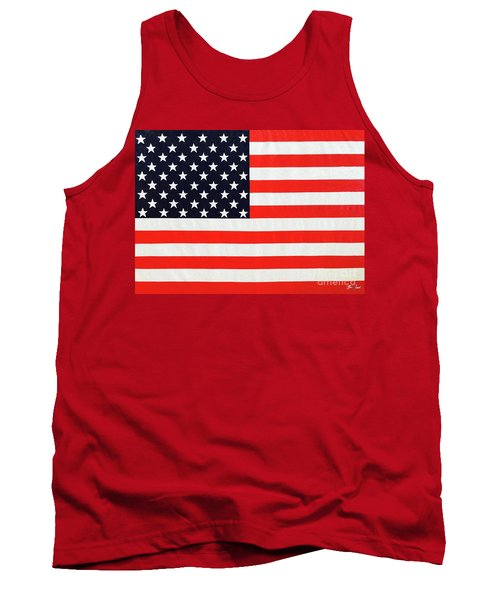 Pooling Independence Day Large Scale Oil On Canvas Original United States Flag Tank Top