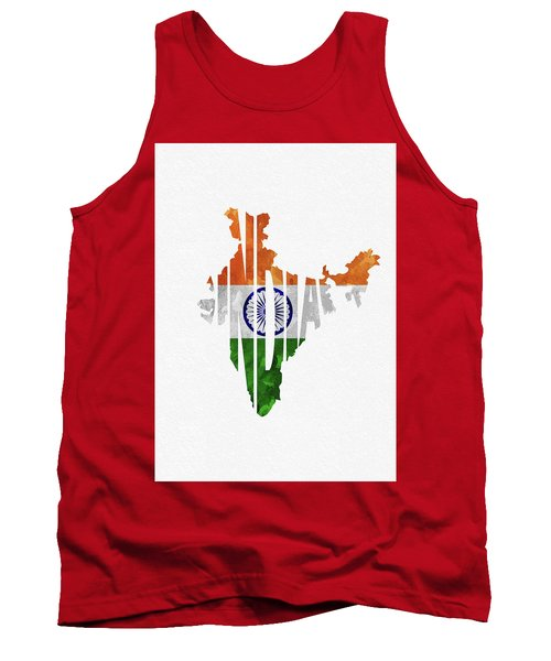 India Typographic Map Flag Tank Top