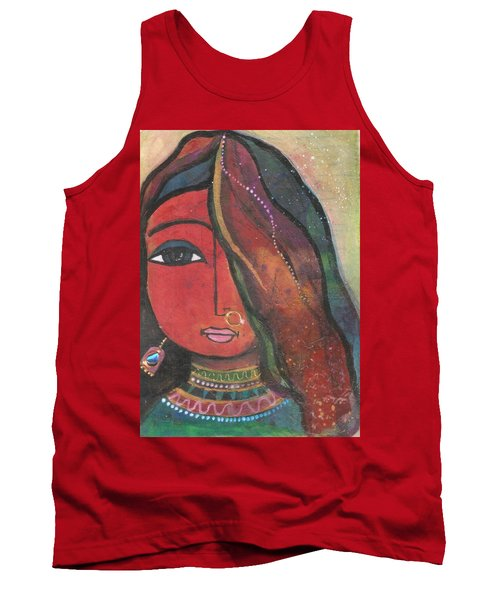 Tank Top featuring the mixed media Indian Girl With Nose Ring by Prerna Poojara