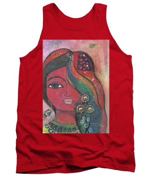 Tank Top featuring the mixed media Indian Woman With Flowers  by Prerna Poojara