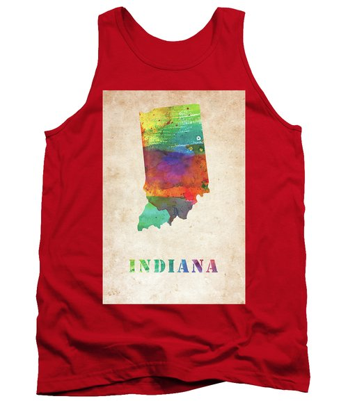 Indiana Colorful Watercolor Map Tank Top