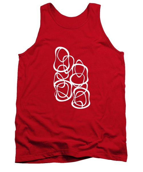 Interlocking - White On Red - Pattern Tank Top