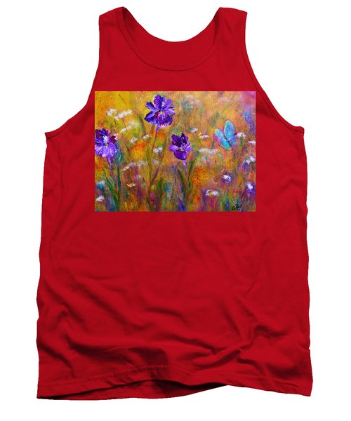 Iris Wildflowers And Butterfly Tank Top