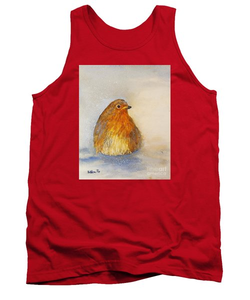 Tank Top featuring the painting Irish Robin In The Snow by Kathleen Pio