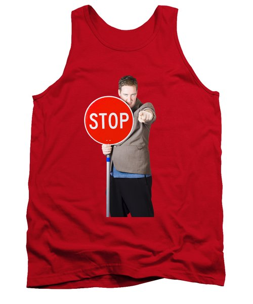 Isolated Man Holding Red Traffic Stop Sign Tank Top