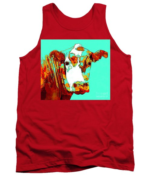 Turquoise Cow Tank Top