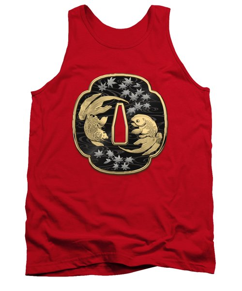 Japanese Katana Tsuba - Twin Gold Fish On Black Steel Over Red Velvet Tank Top