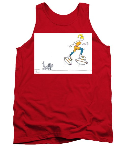 Kangoo Jumps Bouncy Shoes Walking The Dog Keep Fit Cartoon Tank Top