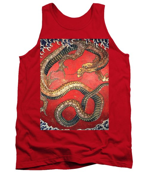 Katsushika Hokusai Dragon  Tank Top by Pg Reproductions