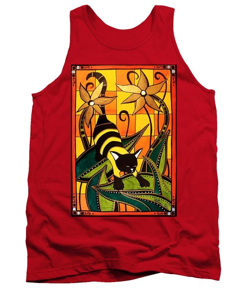 Tank Top featuring the painting Kitty Bee - Cat Art By Dora Hathazi Mendes by Dora Hathazi Mendes